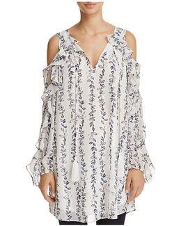 Ruffled Cold-shoulder Vine Print Dress