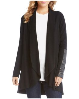 Open Cardigan With Vegan-leather Trim