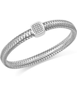 18k White Gold Primavera Pavé Diamond Square Bangle