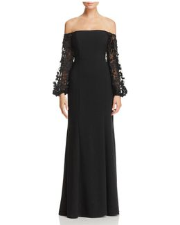 Off-the-shoulder Embroidered-sleeve Gown