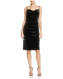 Shirred Stretch Velvet Dress