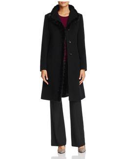 Mink Fur Trim Wool & Cashmere Coat