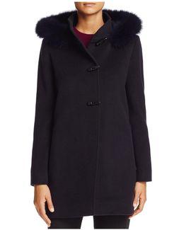 Fox Fur Trim Wool & Cashmere Duffle Coat