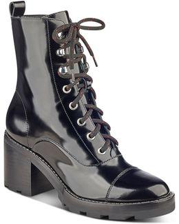 Wanya Patent Leather Block Heel Combat Booties
