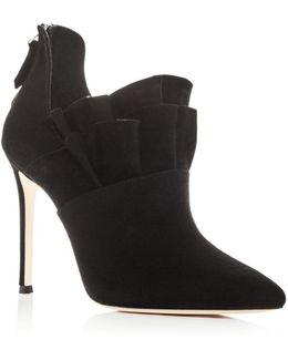 Women's Cedra Suede Ruffle High Heel Booties