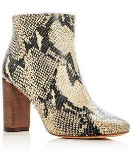 Women's Rickie Snake Embossed Leather High Heel Booties