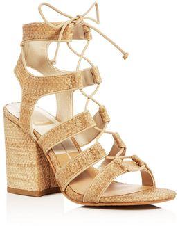 Eva Raffia Lace Up Block Heel Sandals