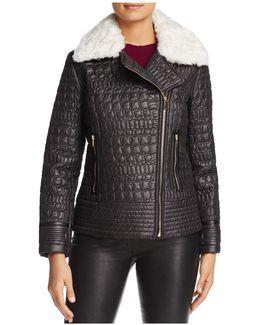 Faux Fur Trim Quilted Moto Jacket
