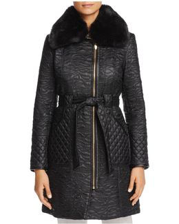 Faux Fur Trim Belted & Quilted Coat