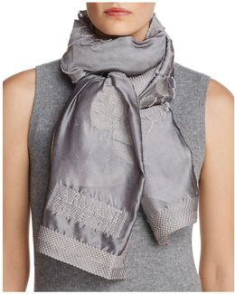 Tonal Contrast Floral Scarf