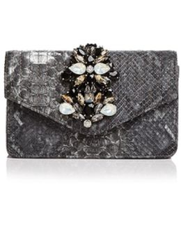 Embellished Embossed Leather Clutch