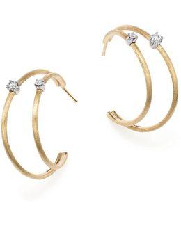 18k Yellow Gold Luce Diamond Double Hoop Earrings
