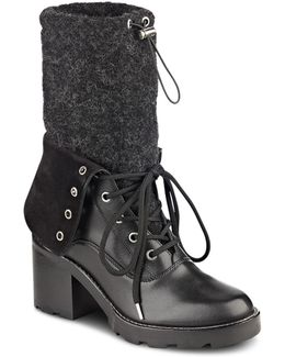 Gladys Leather And Felt Mid Calf Booties