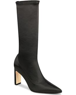 Women's Holly Satin Pointed Toe Mid Calf Booties