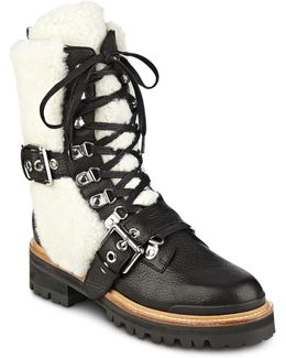 Women's Iris Leather And Sheep Fur Lace Up Booties