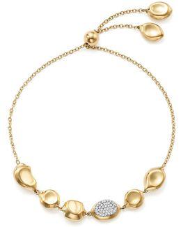 18k Yellow Gold Onda Diamond Pebble And Chain Bracelet