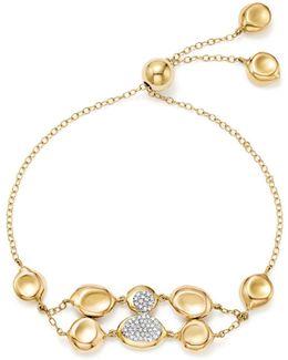 18k Yellow Gold Onda Diamond Double Row Pebble And Chain Bracelet