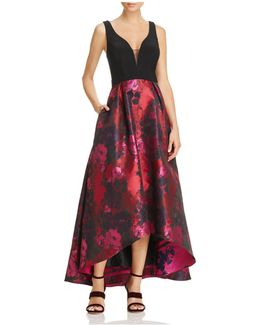 Floral High/low Gown