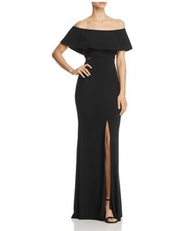 Off-the-shoulder Flounce Gown