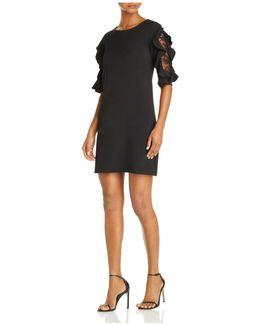 Lace And Ruffle Sleeve Dress