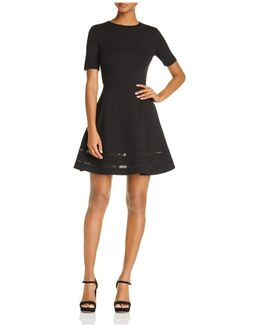 Crochet Inset Fit-and-flare Dress
