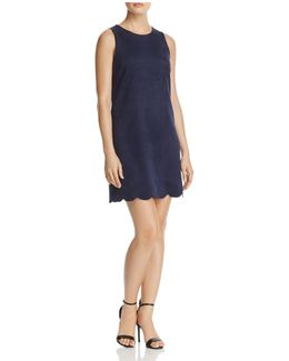 Scalloped Faux Suede Dress