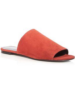 Women's Heather Suede Slide Sandals
