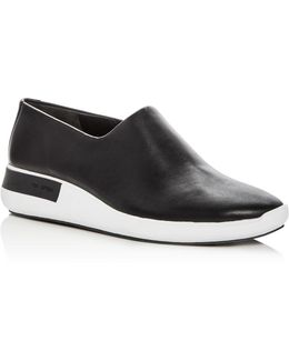 Women's Malena Leather Round Toe Slip-on Sneakers