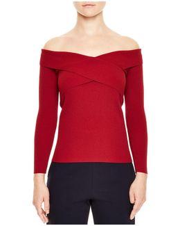 Jova Crisscross-front Off-the-shoulder Sweater