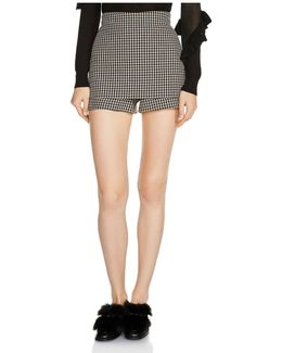 Ilia Front-overlay Houndstooth Mini Shorts