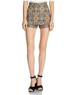 Ilio Front-overlay Tapestry-inspired Jacquard Mini Shorts