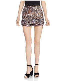 Imane Skirt-overlay Jacquard Shorts