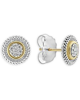18k Gold And Sterling Silver Signature Caviar Diamond Stud Earrings
