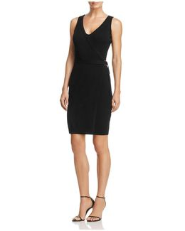 Allison Rib-knit Faux Wrap Dress