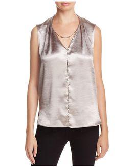 Daria Textured High-shine Top