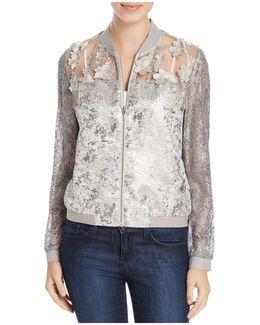 Fatima Shimmer Lace Bomber Jacket