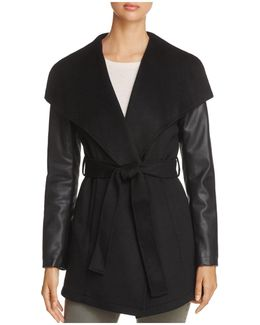 Contrast Sleeve Wrap Coat