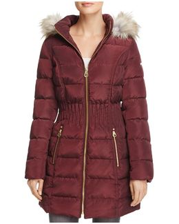 Windbreaker Faux Fur Trim Cinched Waist Puffer Coat