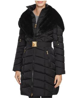 Faux Fur Trim Belted Down Coat