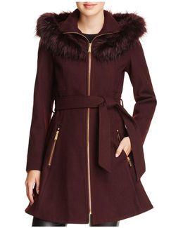 Faux Fur Trim Belted Fit & Flare Coat