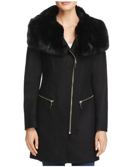 Asymmetric Zip Faux Fur Trim Coat