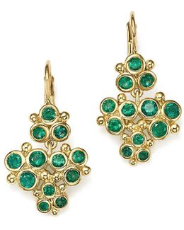18k Yellow Gold Emerald Trio Cluster Earrings