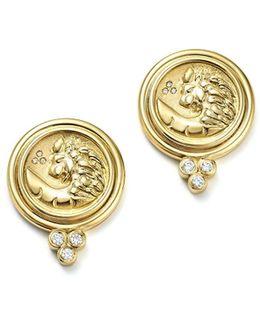 18k Yellow Gold Lion Coin Diamond Earrings