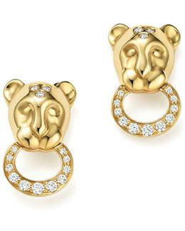 18k Yellow Gold Lion Cub Pavé Diamond Earrings