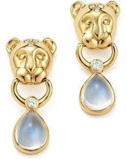 18k Yellow Gold Lion Cub Diamond And Royal Blue Moonstone Drop Earrings