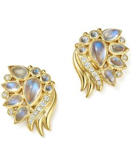 18k Yellow Gold Diamond And Royal Blue Moonstone Wing Earrings