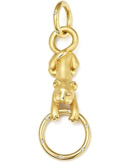 18k Yellow Gold Sitting Lion Cub Diamond Pendant
