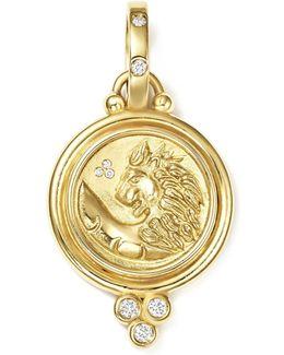 18k Yellow Gold Lion Coin Diamond Pendant