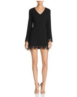 Lace-trim Bell Sleeve Dress
