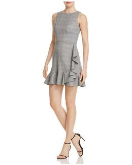 Ruffled Plaid Sheath Dress